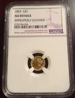 1853 P GOLD ONE DOLLAR NGC AU DETAILS LIBERTY HEAD
