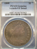 1800 DRAPED BUST SILVER DOLLAR $1 PCGS VF DETAILS