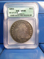 1800 DRAPED BUST $1 DOLLAR ICG VF35 BB-187, B16  SILVER DOLLAR