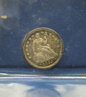1853 HALF DIME 10C ARROWS SEATED LIBERTY 1/2 DIME ALMOST UNC 58