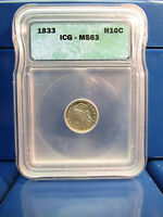 1833 H10C CAPPED BUST HALF DIME MINT STATE 63 ICG 1/2 DIME