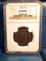 1810 LARGE CENT 1C CLASSIC HEAD  NGC CERTIFIED VF20