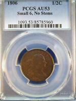 1806 1/2C DRAPED BUST HALF CENT PCGS AU53 SMALL 6 NO STEMS