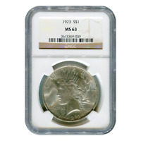 CERTIFIED PEACE SILVER DOLLAR 1923 MINT STATE 63 NGC
