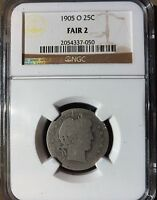 1905-O BARBER QUARTER  DATE LOWER MINTAGE NGC-FR2 LOWBALL OR GRADING SET