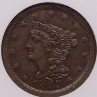 1849 BETTER DATE HALF CENT NGC MS61 BN SMOOTH & PLEASING   DAVIDKAHNCOINS