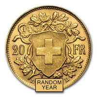 SWISS GOLD 20 FRANCS HELVETIA COIN AU  RANDOM YEAR    SKU 151896