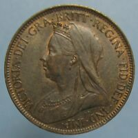 1899 VICTORIA HALF PENNY   BROWN UNCIRCULATED WITH A BIT OF MINT RED