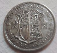UK 1928 SILVER HALF CROWN COIN KING GEORGE V BEAUTY OLD LARG