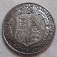 UK 1923 SILVER HALF CROWN COIN KING GEORGE V BEAUTY OLD LARG