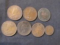 LOT OF 7 CANADA CENTS  LARGE & SMALL    1859 1881 1886 1916 2X 1919 1932