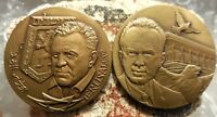 JUDAICA: 2 MEDALS TEDDY KOLLEK  1ST MAYOR OF UNITED JERUSALEM  & YITZHAK RABIN
