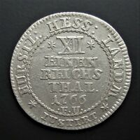 GERMAN STATES HESSE CASSEL 1/12 THALER 1766 SILVER COIN  LION FACES LEFT S5