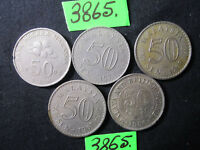 5 X ASSORTED 50 SEN COINS FROM MALAYSIA  MAR 3865    55 GMS