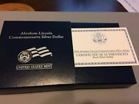 2009 ABRAHAM LINCOLN PROOF SILVER DOLLAR COMMEMORATIVE $1 COIN US MINT