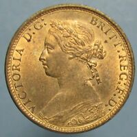 NEARLY FULL RED CHOICE BU 1875 H VICTORIA HALF PENNY