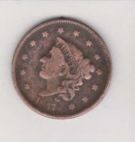 1837 LARGE PENNY 180 YEARS OLD  NICE COLOR/DETAIL