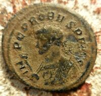 PROBUS AE ANTONINIANUS TICINUM. CONCORDIA STANDING LEFT HOLDING TWO STANDARDS