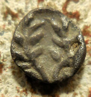 AEOLIS ELAIA 450 BC. SILVER HEMIOBOL HELMETED HEAD OF ATHENA OLIVE WREATH