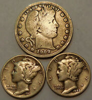 3 SILVER COINS 1909 BARBER QUARTER TWO MERCURY DIMES 1941 1942