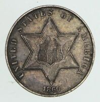 1860 THREE CENT PIECE   SILVER   CIRCULATED  4129