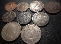 AUSTRIA OLDER 9 COIN LOT   LOOK  ERLY 1900'S BACK TO 1860