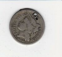 1867 3 CENT NICKEL  OBSOLETE COINAGE NICE DETAIL HOLED