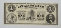 1800'S ONE DOLLAR OBSOLETE NOTE CITIZENS' BANK NEW ORLEANS LOUISIANA  P86