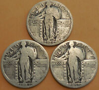 STANDING LIBERTY QUARTERS THREE 90  SILVER 1925 1927 1930