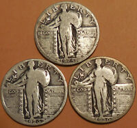 STANDING LIBERTY QUARTERS THREE 90  SILVER 1925 1926 1930