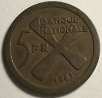 1961 KATANGA 5 FRANCS WORLD FOREIGN COIN EXCELLENT CONDITION