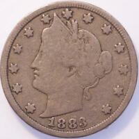 1883 WITH CENTS LIBERTY NICKEL VG SHARP DETAIL GREAT COLOR SEMI KEY DATE