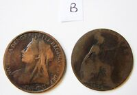 PAIR OF WIDOWS HEAD 1899 BRITISH QUEEN VICTORIA PENNIES   KNOWN AS COPPERS