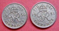GREAT BRITAIN COLLECTABLE 1950 & 1951  KING GEORGE VI SIXPENCE COINS   TANNERS