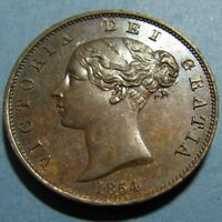1854 VICTORIA HALF PENNY   GLOSSY BROWN UNCIRCULATED