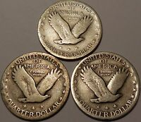 LOT OF 3 STANDING LIBERTY 90  SILVER QUARTERS 1927 1929 1930