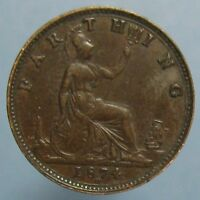 1874 H VICTORIA FARTHING   LIGHTLY CIRCULATED HEATON MINT COIN