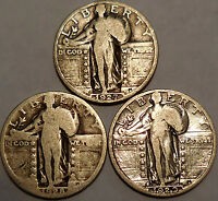 LOT OF 3 STANDING LIBERTY SILVER QUARTERS 1927 P 1928 P 1929 S