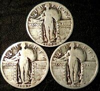 STANDING LIBERTY QUARTERS THREE 90  SILVER QUARTERS 1926 1927 1930
