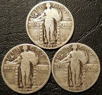 LOT OF 3 STANDING LIBERTY 90  SILVER QUARTERS 1925 1927 1930