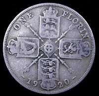 1920  UK  ONE FLORIN BRITAIN   NICE COIN   .500 SILVER