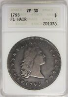 1795 FLOWING HAIR SILVER DOLLAR $1 ANACS VF 30 CERTIFIED COIN - JY021