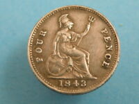 1843 QUEEN VICTORIA   SILVER FOURPENCE GROAT COIN   GOOD COI