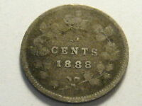1888 CANADIAN FIVE CENT SILVER PIECE GOOD