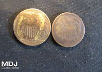 LOT OF 2 2 CENT PIECES TWO CENTS   1864 & 1865