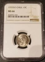 1933 CHILE 10 CENTAVOS NGC MS 66