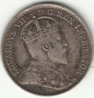 .925 SILVER 1910 POINTED LEAVES EDWARD VII 5 CENT PIECE F VF