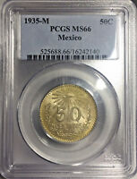 1935 MS66 MEXICO SILVER 50 CENTAVOS UNC KM 448 PCGS GOLD EDGED TONED OBVERSE