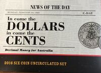 2016 AUSTRALIAN IN COME THE DOLLARS IN COME THE CENTS SIX COIN UNCIRCULATED SET