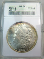 1885 MORGAN DOLLAR ANACS MINT STATE 64 VAM 1C PITTED REVERSE HOT50 CLC